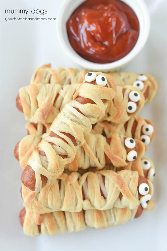 crescent dough wrapped hot dogs mummy dogs