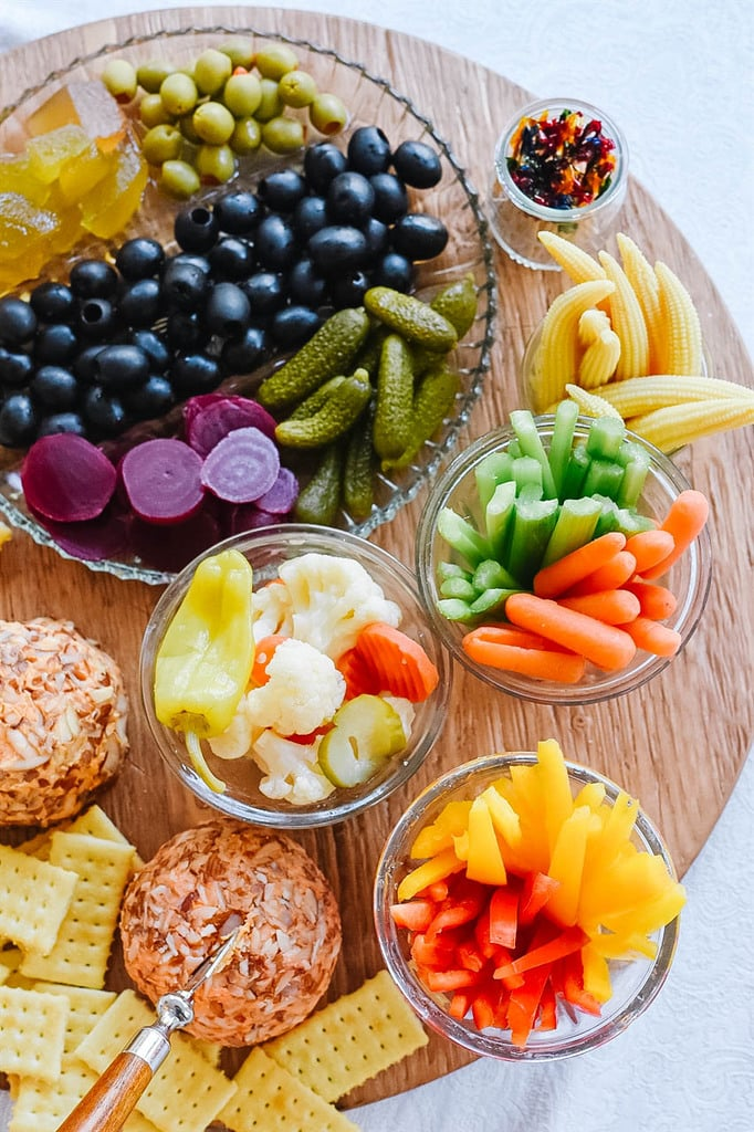 Relish Tray pickles olives cheese ball crackers veggies