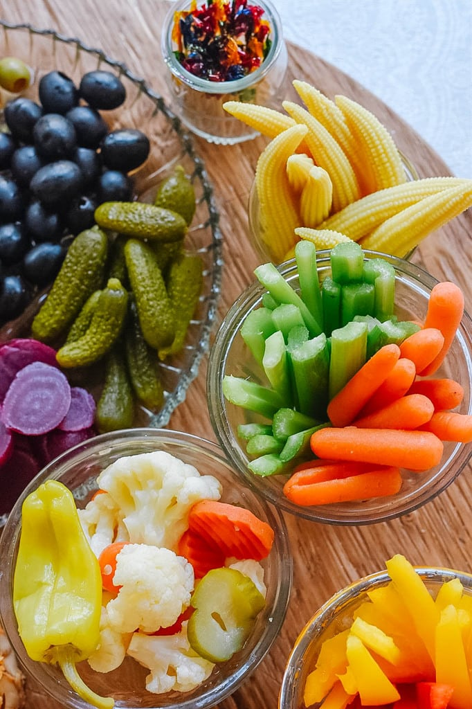 Relish Tray with carrots celery and pickled veggies