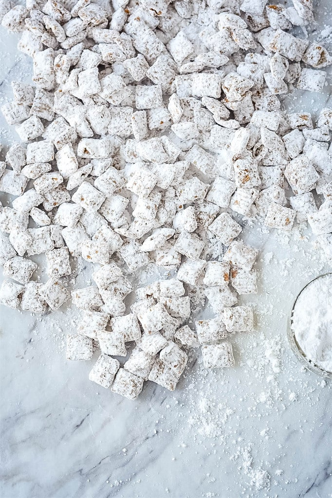 Cookie Butter Puppy Chow cooling