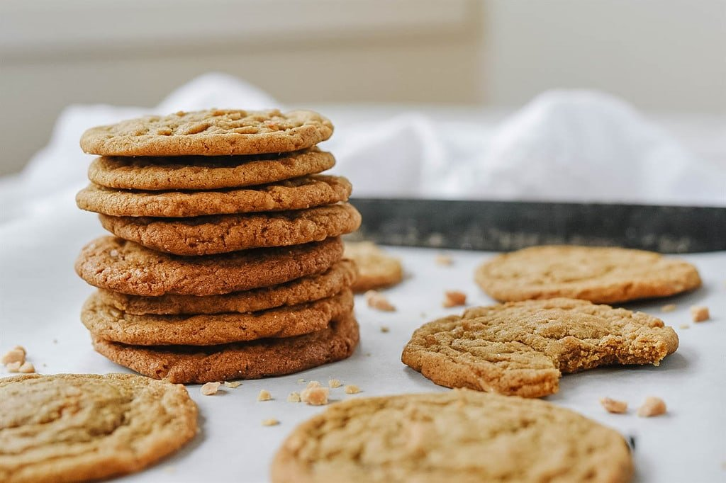 Stack of Ginger Snap Toffee Cookies
