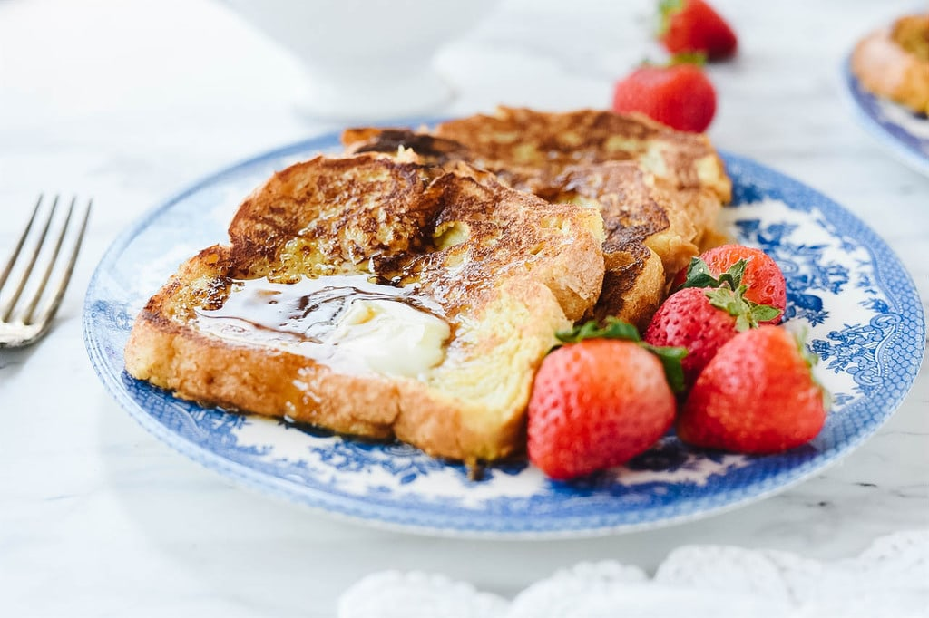 Overnight French Toast with strawberries