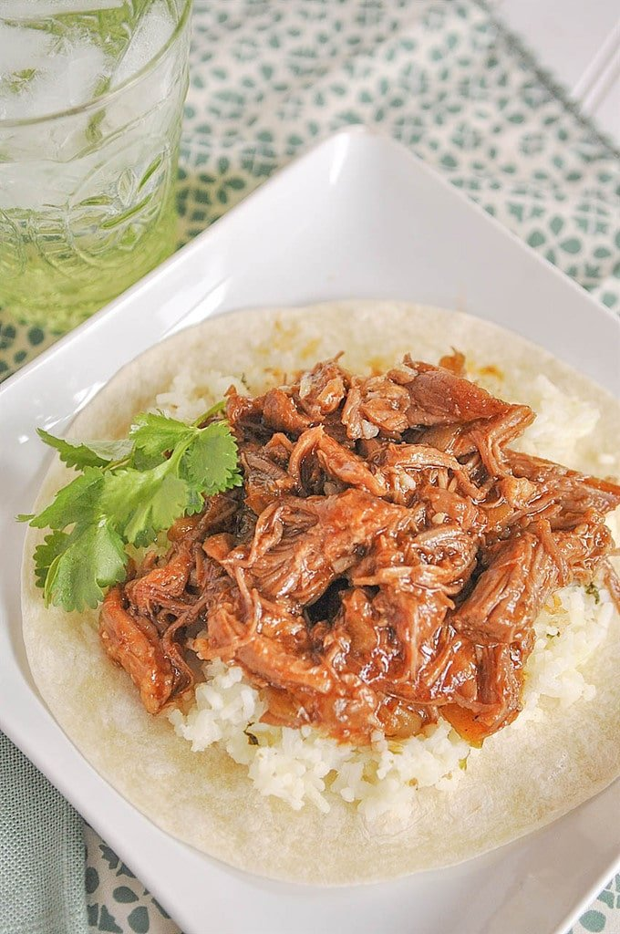 Cafe Rio Sweet Pork on a tortilla