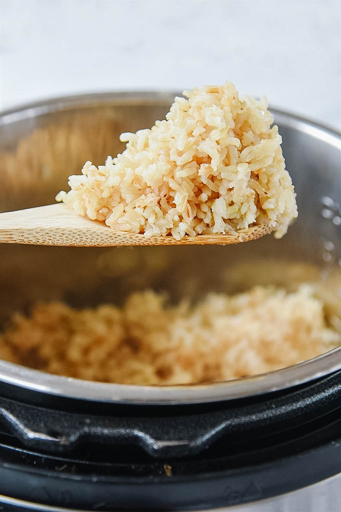 spoon full of Instant Pot Brown Rice