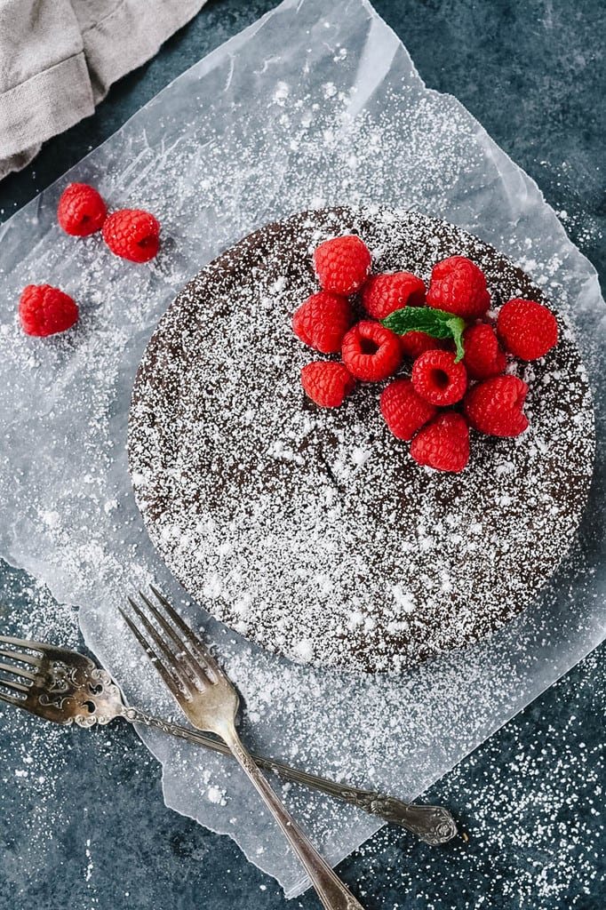Flourless Chocolate Cake dusted with powdered sugar