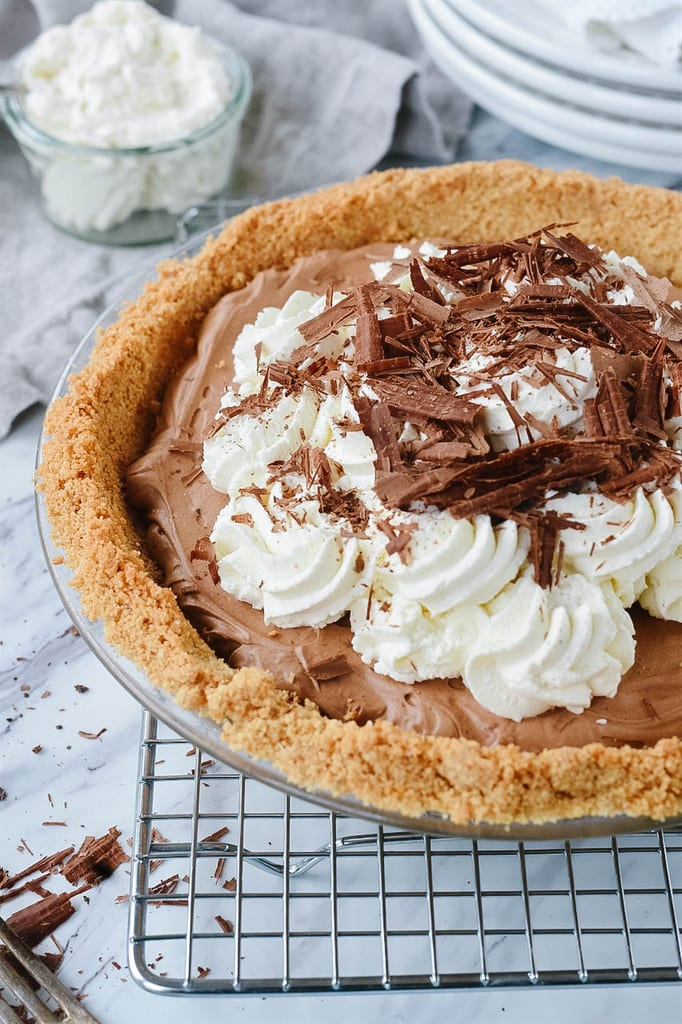 French Silk Pie in a graham cracker crust