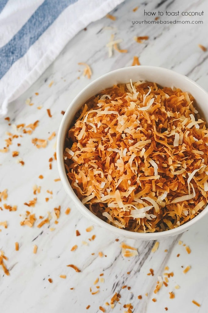 bowl of toasted coconut