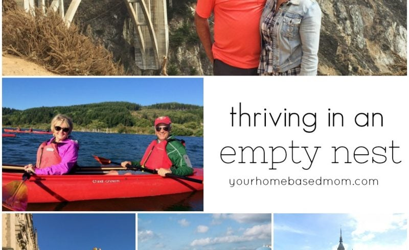 collage of empty nester trips
