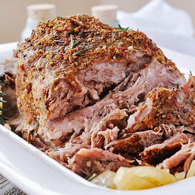 Crock Pot 5 ingredient Pork Roast with fresh lemon and herbs