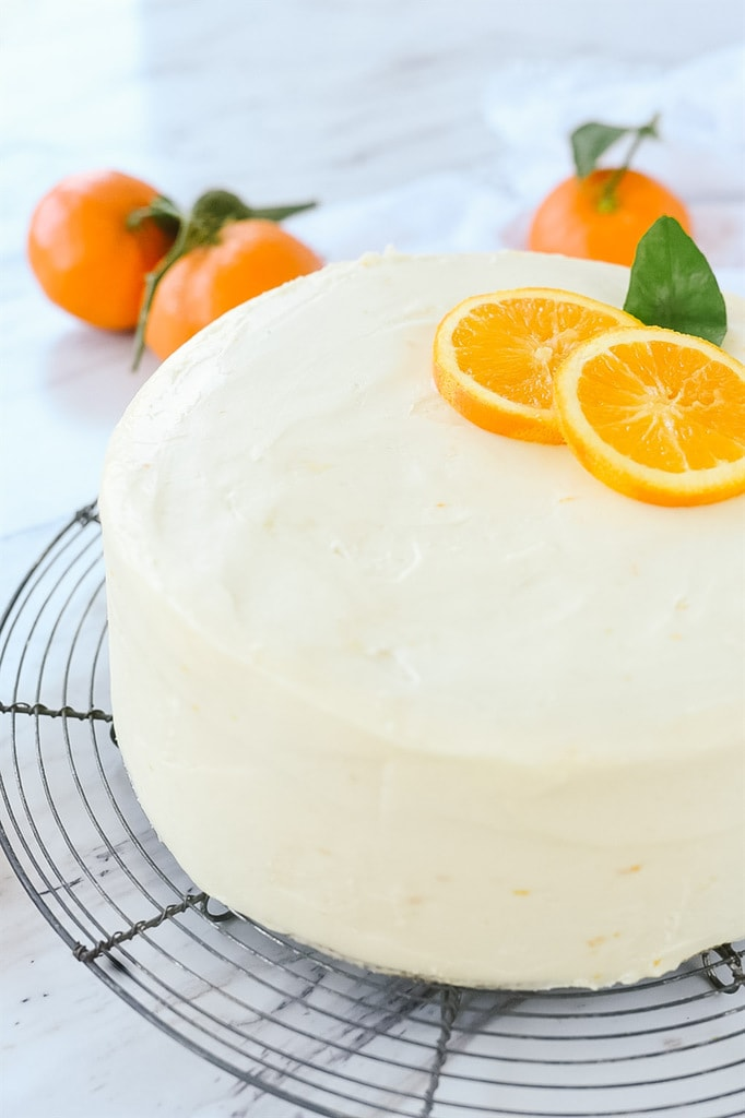 Orange Cake decorated with orange slices