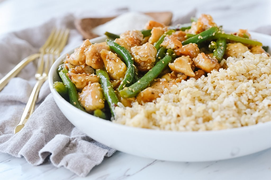 General Tso Chicken with green beans