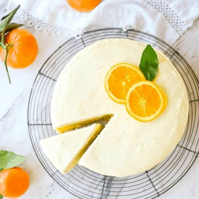 Orange cake on a cooling rack