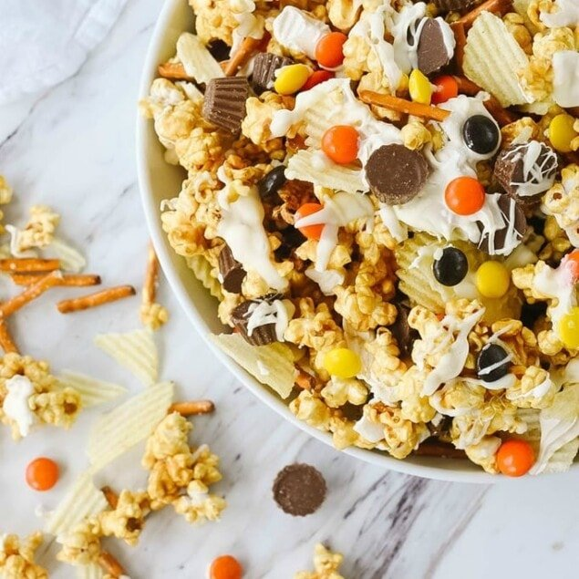Peanut Butter Snack Mix in a bowl
