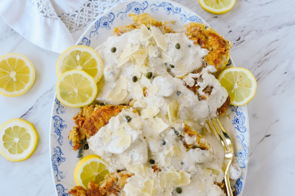 creamy lemon chicken with shredded parmesan