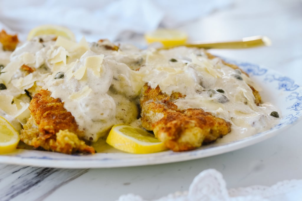 parmesan crusted chicken in lemon cream sauce