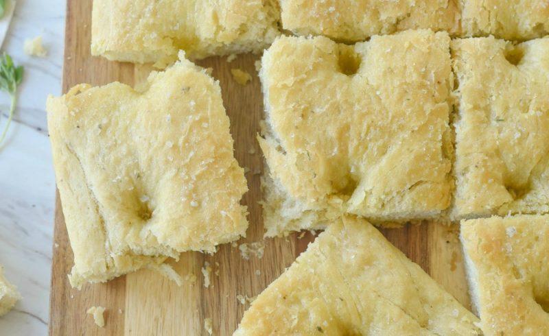 Focaccia bread on a bread board
