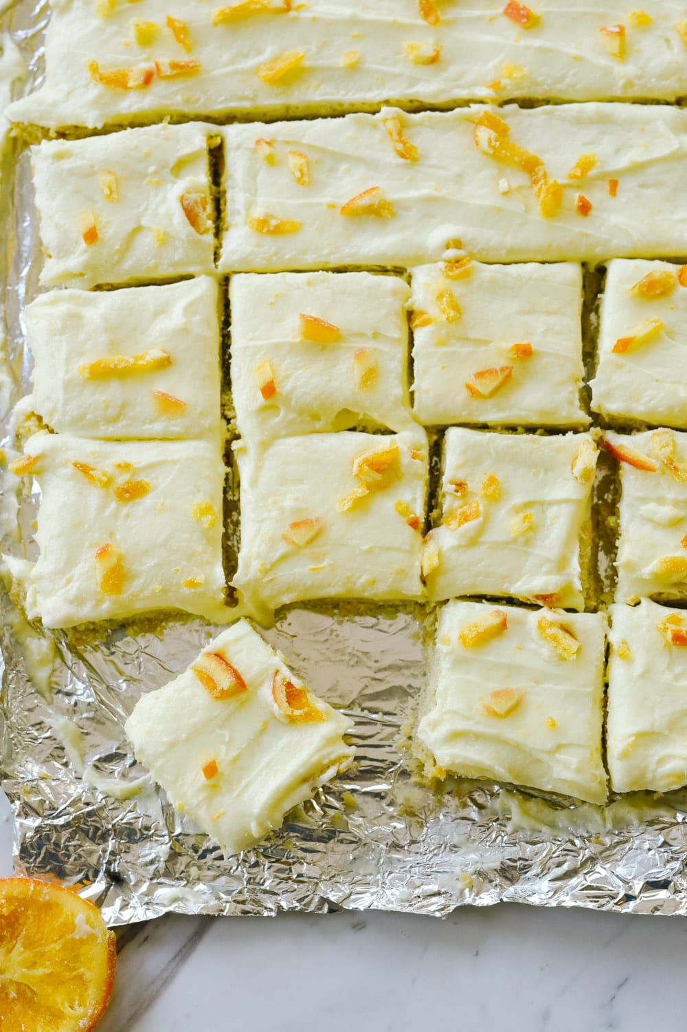 Sugar Cookie Bars cut into squares
