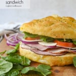 focaccia sandwich with meat and cheese