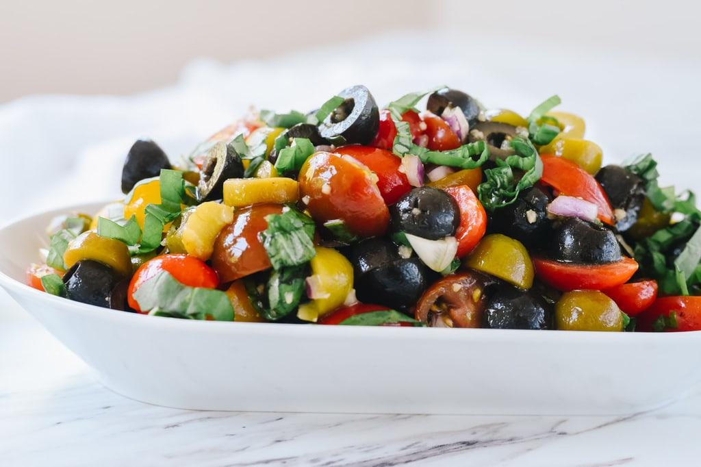 Tomato Olive RElish with fresh basil