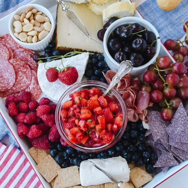 overhead shot of patriotic cheeseboard