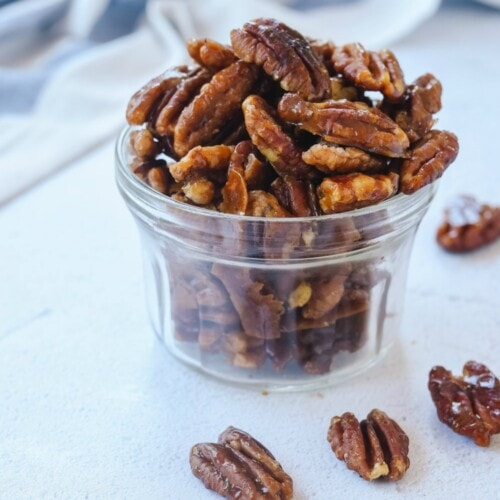 container of candied pecans