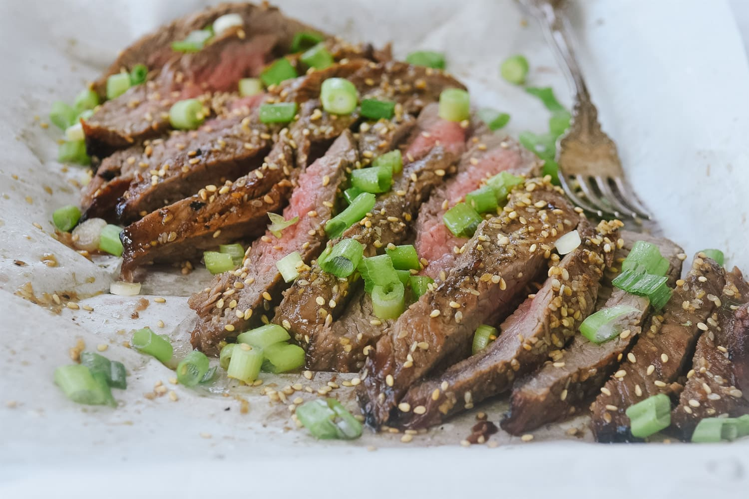 Fla k Steak with green onions