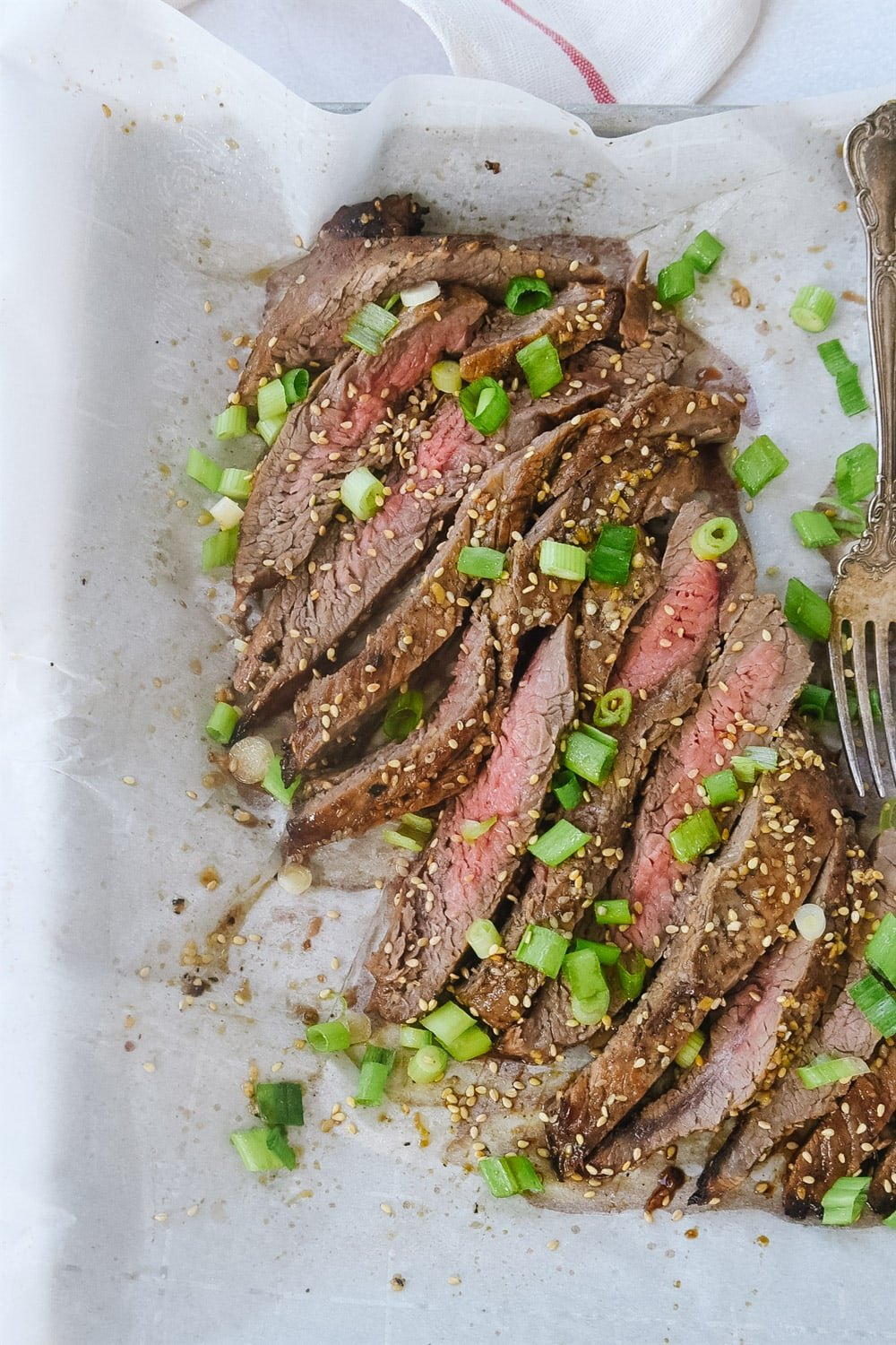 Flank steak on parchment paper