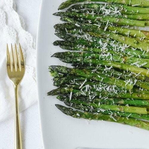 Grilled Asparagus on white platter