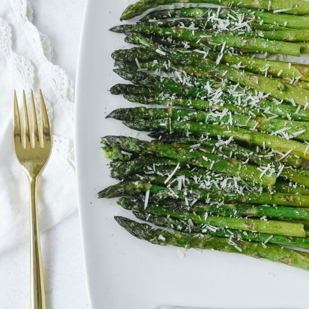Grilled Asparagus on white platter