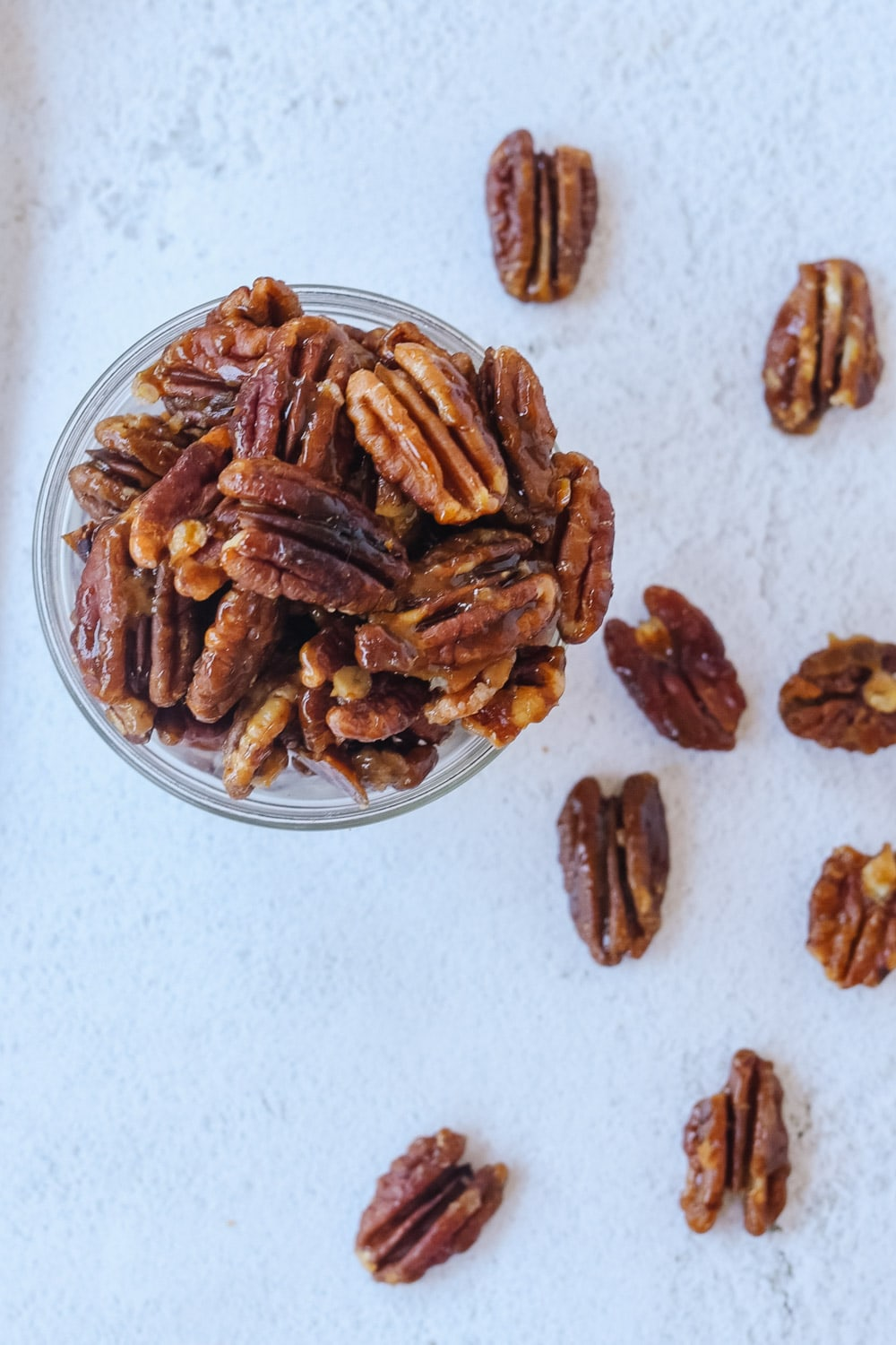 overhead shot of candied pecans