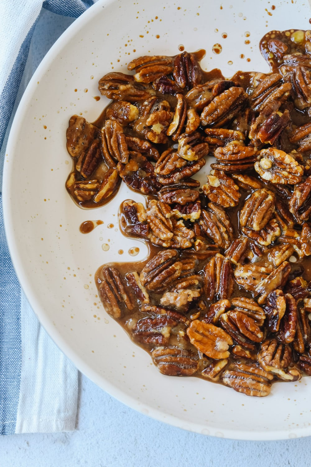 candied pecans in a pan.