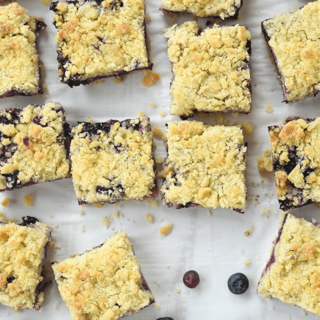 blueberry crumble bars cut into bars