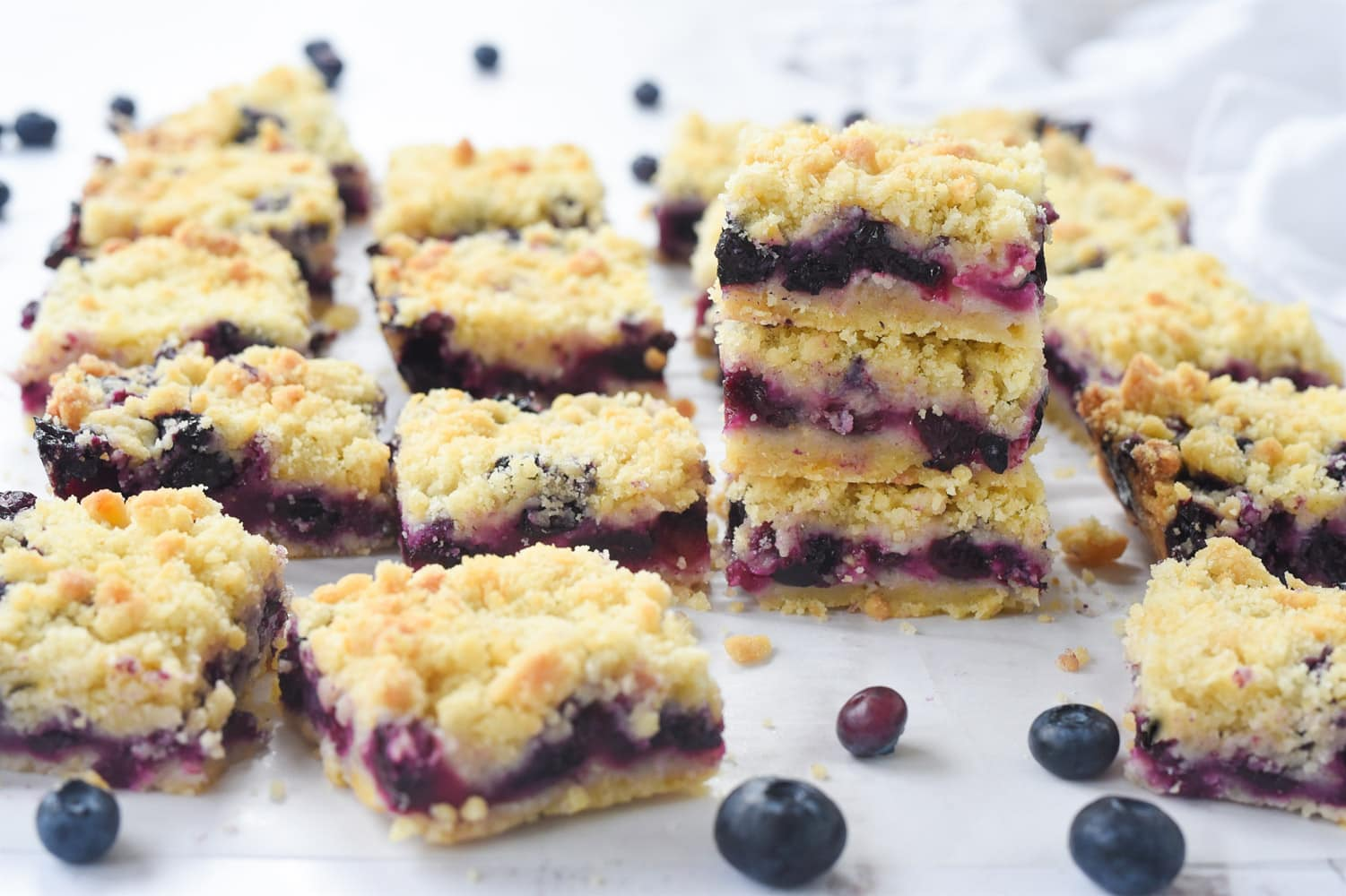 Pieces of blueberry crumble bars