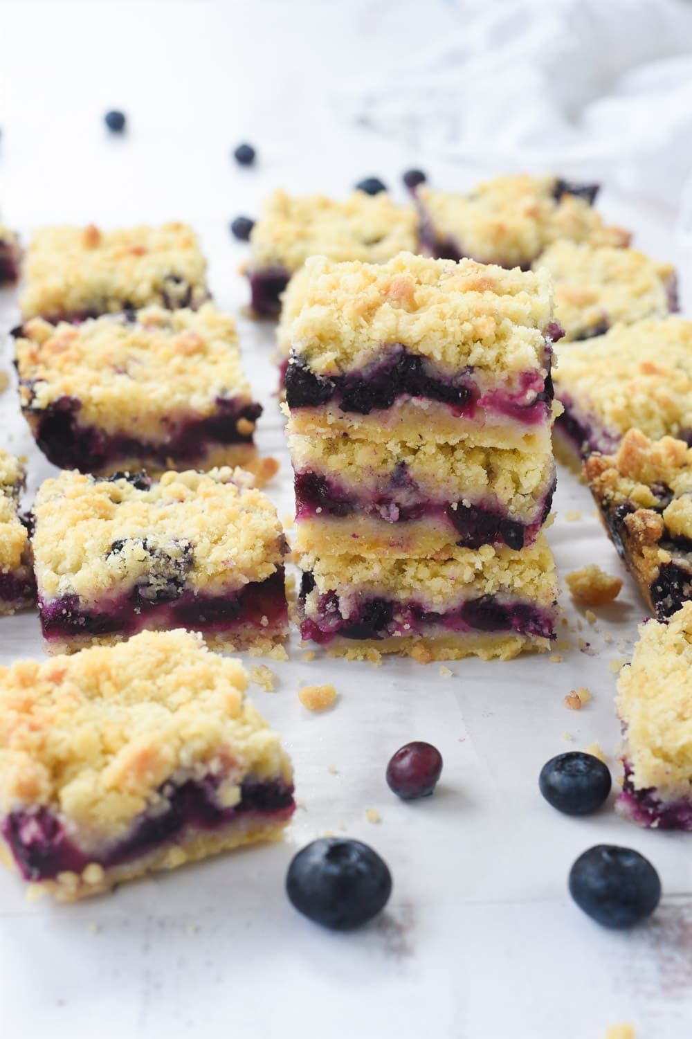 Blueberry Crumble bars in a stack
