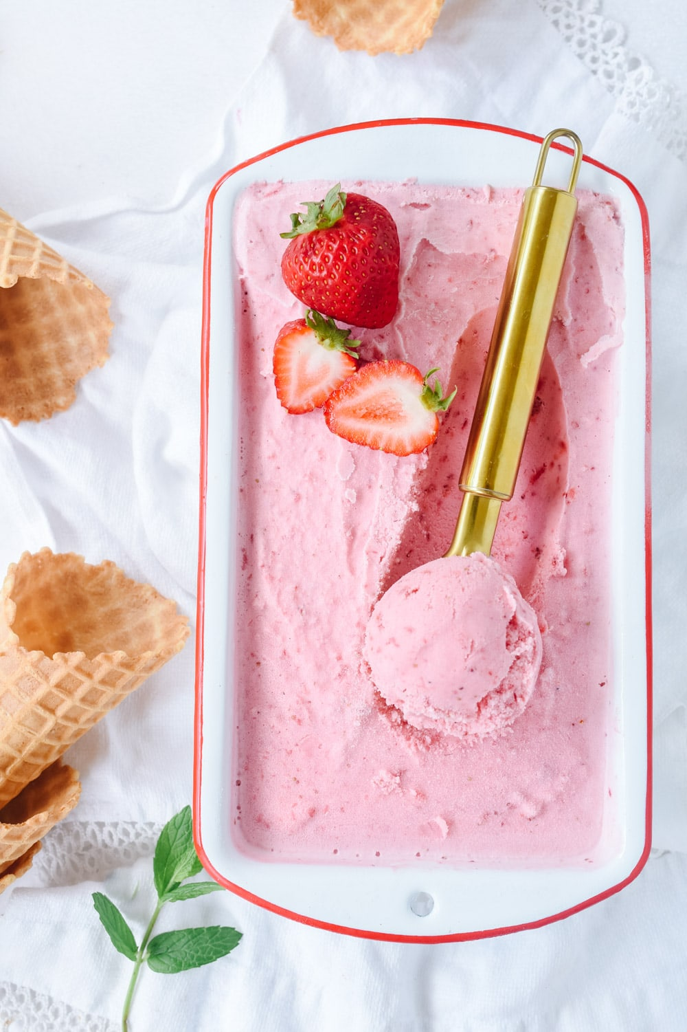 scoop of strawberry ice cream
