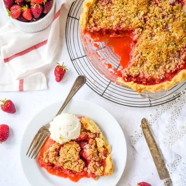 strawberry rhubarb pie on a cooling rack