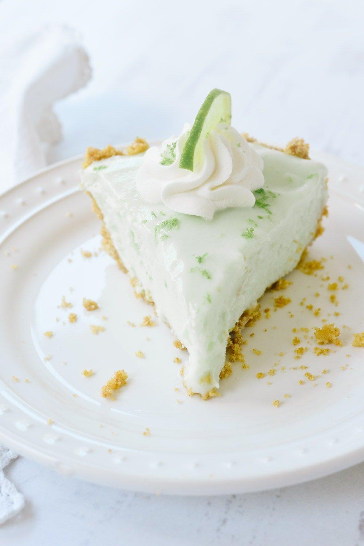 A slice of frozen key lime pie