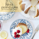 lemon pound cake with whipped cream and berries