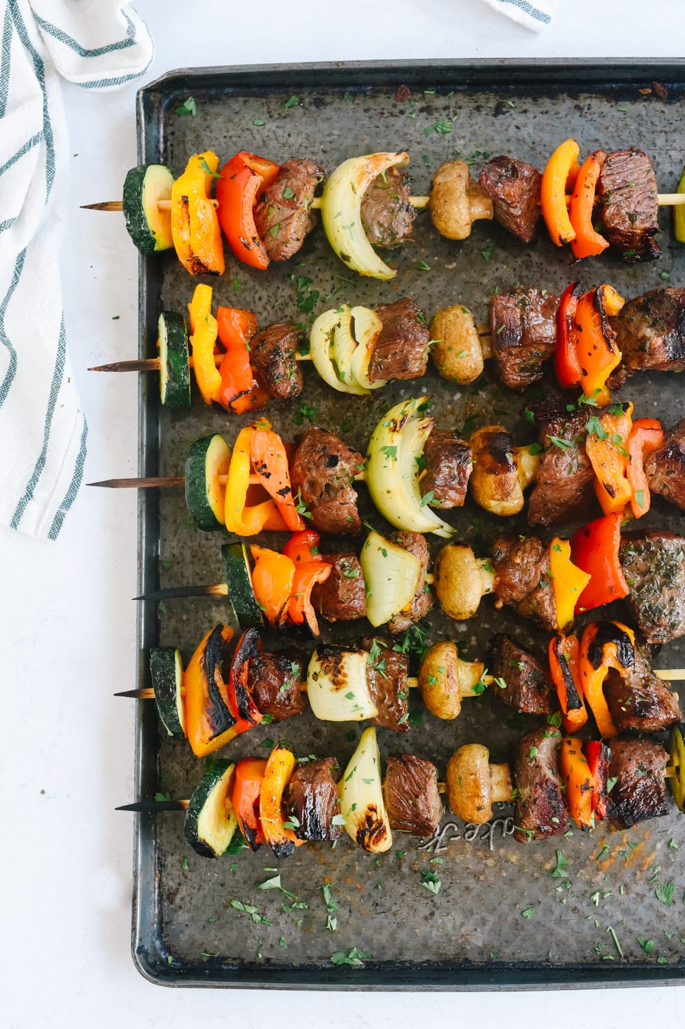 shish kabob on a tray