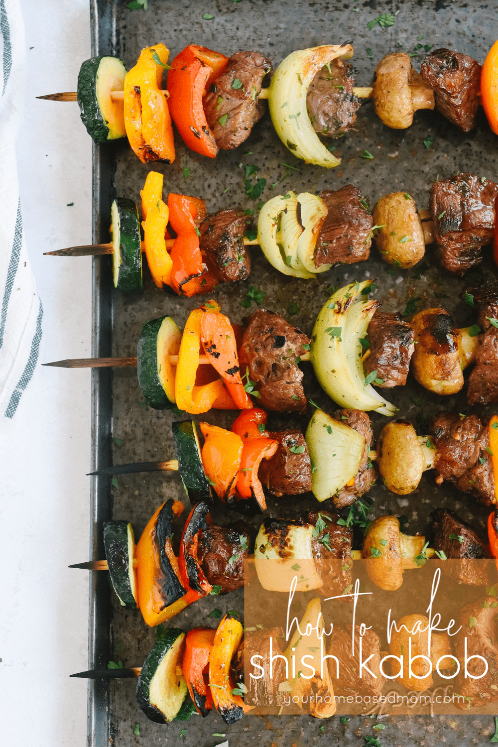shish kabob on a baking sheet