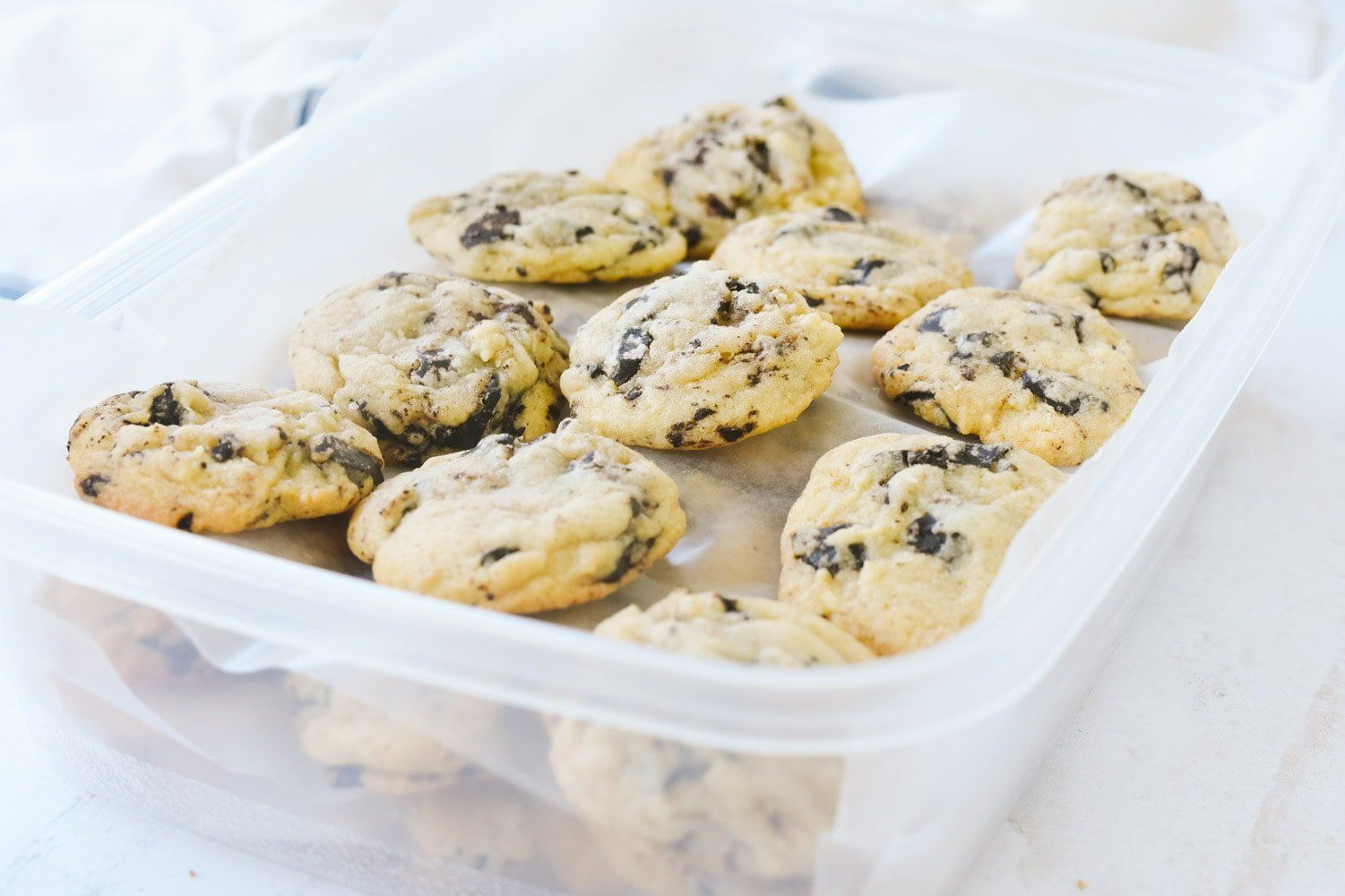 chocolate chip cookies in an air tight container