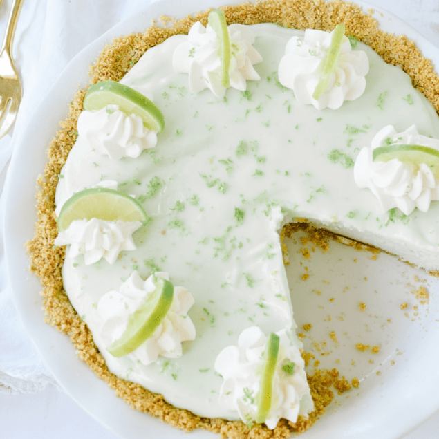 frozen key lime pie in a dish