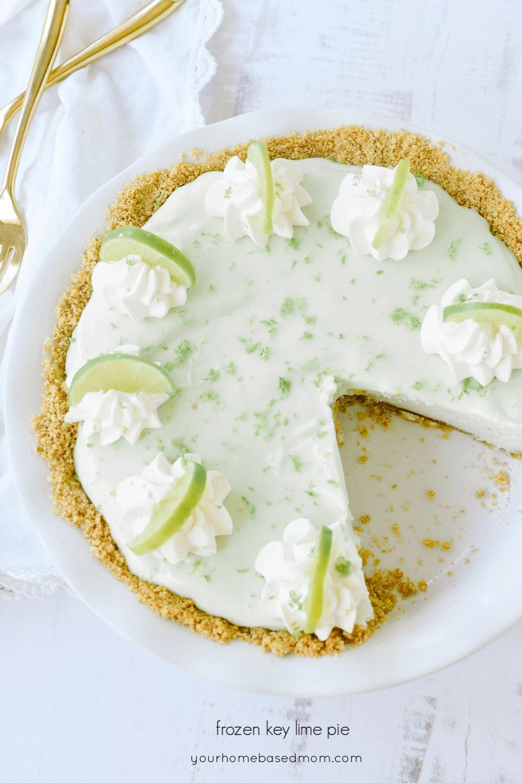 frozen key lime pie in a dish