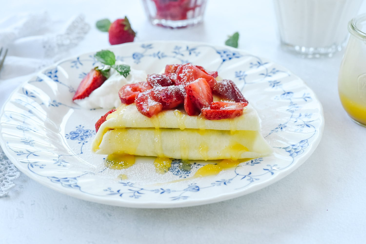 crepe with lemon curd and berries.