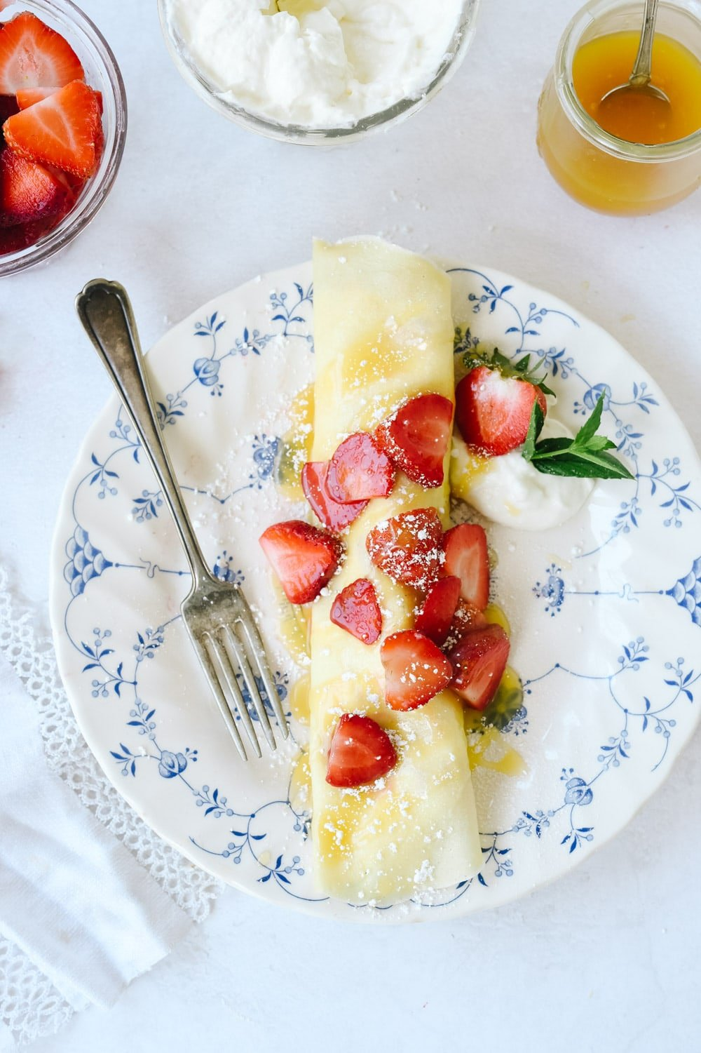 rolled crepe with berries