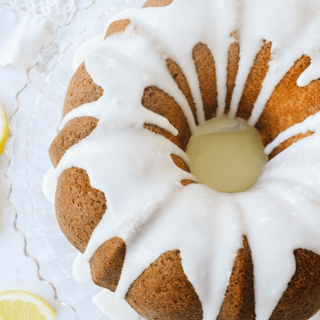 overhead view of a lemon pound cake