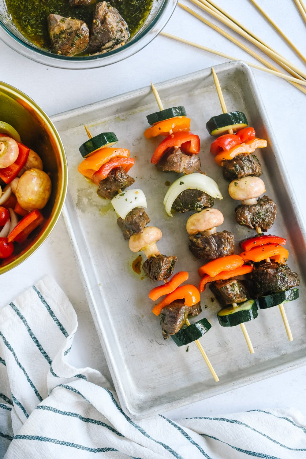 meat and veggies on skewers