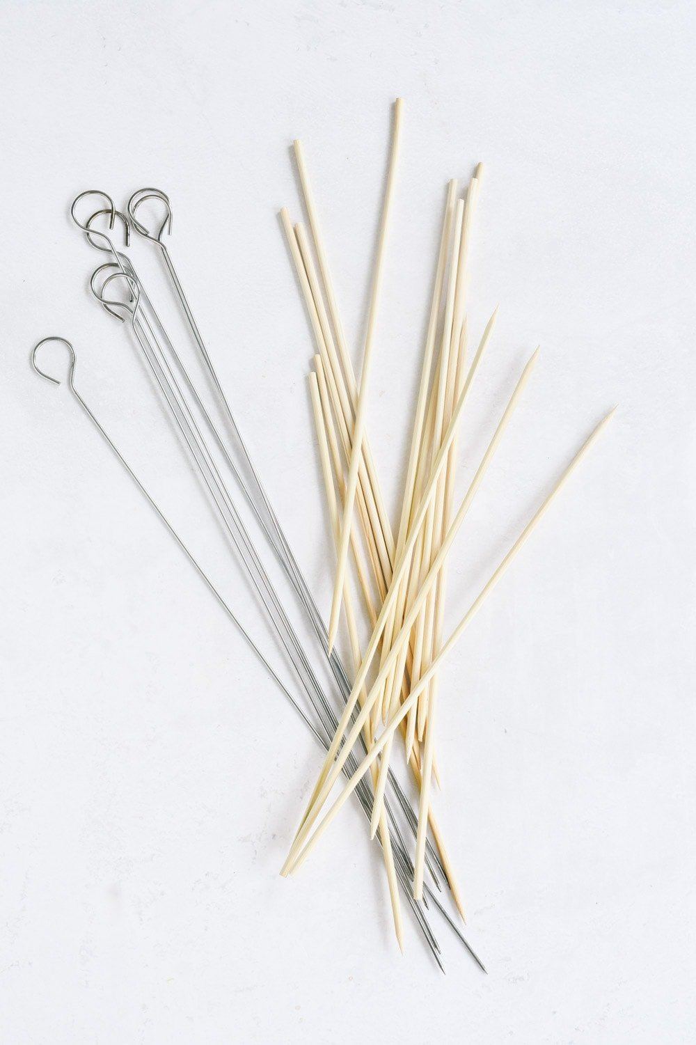 metal and bamboo skewers