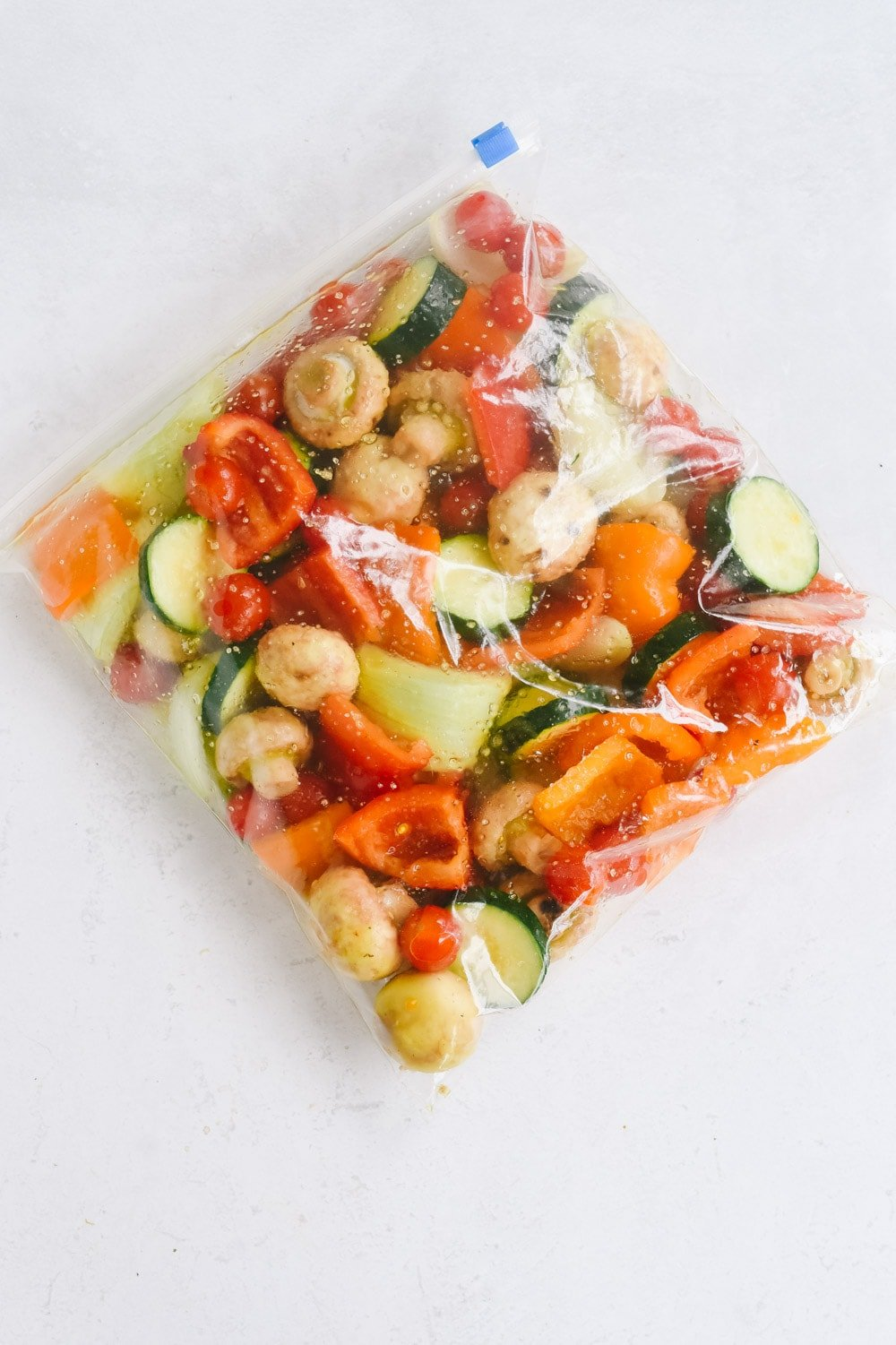 veggies for shish kabob in a bag