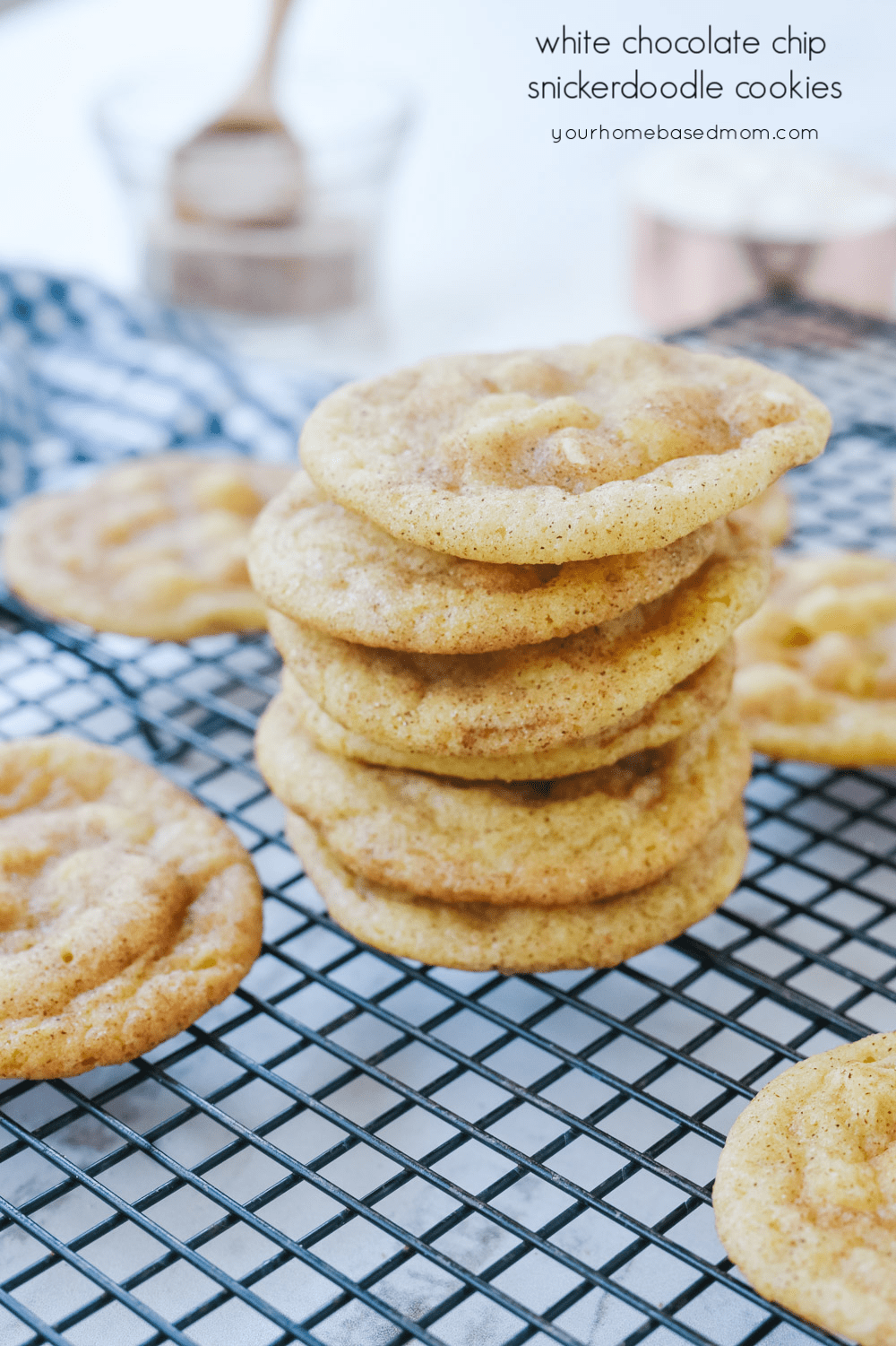 pile of white chocolate chip snickerdoodles